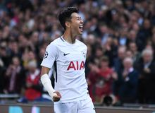 Heung-Min Son celebrates goal. Football players pictured during the UEFA Champions League Group H game between Tottenham Hotspur and Borussia Dortmund on Royalty Free Stock Image