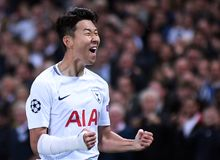 Heung-Min Son celebrates goal. Football players pictured during the UEFA Champions League Group H game between Tottenham Hotspur and Borussia Dortmund on Stock Photos