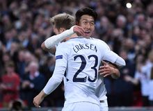 Heung-Min Son celebrates goal Stock Photo