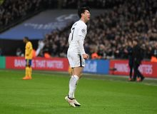 Heung-Min Son celebrates goal. Players pictured during the UEFA Champions League Round of 16 game between Tottenham Hotspur and Juventus Torino held on March 7 Stock Photography