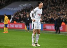Heung-Min Son celebrates goal. Players pictured during the UEFA Champions League Round of 16 game between Tottenham Hotspur and Juventus Torino held on March 7 Royalty Free Stock Image