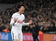 Heung-Min Son celebrates goal. Players pictured during the UEFA Champions League Round of 16 game between Tottenham Hotspur and Juventus Torino held on March 7 Stock Images