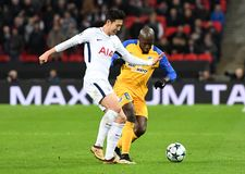 Heung-Min Son. Football players pictured during the UEFA Champions League Group H game between Tottenham Hotspur and APOEL FC on December 6, 2017 at Wembley Royalty Free Stock Photography