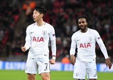 Heung-Min Son goal celebration. Football players pictured during the UEFA Champions League Group H game between Tottenham Hotspur and APOEL FC on December 6 Stock Images