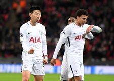 Heung-Min Son goal celebration. Football players pictured during the UEFA Champions League Group H game between Tottenham Hotspur and APOEL FC on December 6 Stock Photography