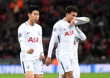Heung-Min Son goal celebration. Football players pictured during the UEFA Champions League Group H game between Tottenham Hotspur and APOEL FC on December 6 Stock Photo
