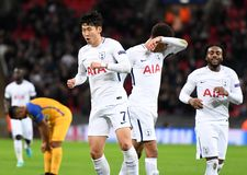 Heung-Min Son goal celebration. Football players pictured during the UEFA Champions League Group H game between Tottenham Hotspur and APOEL FC on December 6 Royalty Free Stock Photos