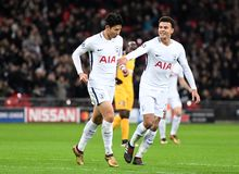 Heung-Min Son goal celebration. Football players pictured during the UEFA Champions League Group H game between Tottenham Hotspur and APOEL FC on December 6 Royalty Free Stock Photography
