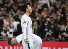 Heung-Min Son goal celebration. Players pictured during the UEFA Champions League Round of 16 game between Tottenham Hotspur and Juventus Torino held on March 7 Royalty Free Stock Photo