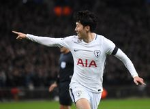 Heung-Min Son goal celebration. Players pictured during the UEFA Champions League Round of 16 game between Tottenham Hotspur and Juventus Torino held on March 7 Royalty Free Stock Photography