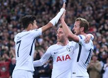 Heung-Min Son and Harry Kane celebrate goal. Football players pictured during the UEFA Champions League Group H game between Tottenham Hotspur and Borussia Royalty Free Stock Photos
