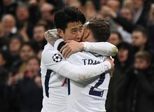 Heung-Min Son and Kieran Trippier goal celebration. Players pictured during the UEFA Champions League Round of 16 game between Tottenham Hotspur and Juventus Royalty Free Stock Images