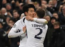 Heung-Min Son and Kieran Trippier goal celebration. Players pictured during the UEFA Champions League Round of 16 game between Tottenham Hotspur and Juventus Royalty Free Stock Photography