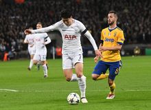 Heung-Min Son and Miralem Pjanic. Players pictured during the UEFA Champions League Round of 16 game between Tottenham Hotspur and Juventus Torino held on March Stock Images