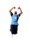 Heup-hop jonge mens die koele beweging op witte backgr maakt Royalty-vrije Stock Foto's