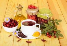 Heupen, lijsterbes, kop thee, olie op licht hout stock fotografie