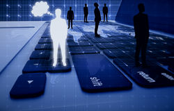 Heure, affaires globales et technologies Image stock