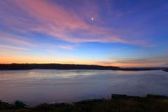 Heure avant lever de soleil à la frontière du Mekong, de la Thaïlande et du Laos photos stock