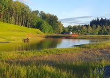 Heure d'or à l'étang de Parkview Image libre de droits