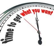 Heure d'obtenir ce qui vous voulez le compte à rebours d'horloge Photo stock