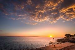 Heure d'or sur la plage Images libres de droits