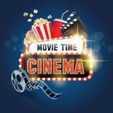 Heure de projection du film de drapeau de cinéma Photographie stock