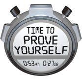 Heure de se prouver représentation de mots de minuterie de chronomètre Photographie stock
