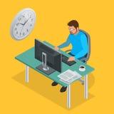 Heure de travailler ou programme de plan de projet de gestion du temps Illustration isométrique du vecteur 3d plat d'horloge de s Photo libre de droits