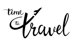 Heure de voyager affiche inspirée typographique Logo linéaire d'avion illustration stock