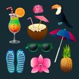 Heure de voyager aux tropiques Ensemble d'éléments de vacances Photo stock