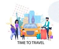 Heure de voyager bannière plate de motivation pour la famille illustration de vecteur