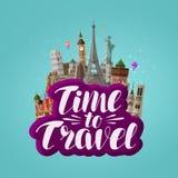 Heure de voyager, bannière Voyage, voyageant autour du monde, concept illustration libre de droits