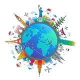 Heure de voyager - composition plate en voyage de conception illustration stock