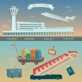 Heure de voyager en avion Aéroport avec l'avion illustration stock