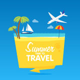 Heure de voyager, les vacances d'été, dirigent le fond plat et objectent le tamplate d'insignes d'illustrations Photos stock
