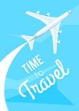 Heure de voyager, mouche d'avion Photo stock