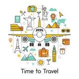Heure de voyager par la ligne plate Art Thin Icons Photos libres de droits