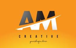 AM heure du matin Letter Modern Logo Design avec le fond jaune et le Swoo illustration libre de droits