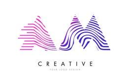 AM heure du matin Zebra Lines Letter Logo Design avec des couleurs magenta Photo stock