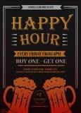 Heure heureuse Belle affiche de carte de voeux, texte d'or de calligraphie avec la tasse de bière et lettrage illustration stock