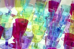 heure heureuse de foto en verre multicolore photos stock