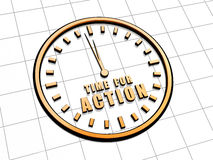 Heure pour l'action dans le symbole d'or d'horloge Images stock