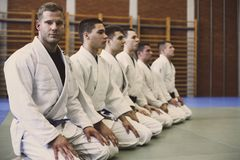 Heure pour la classe de judo photos stock