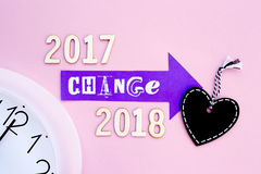 Heure pour le changement - 2017 à 2018 Photo stock