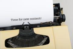 Heure pour le nouveaux contenu/optimisation de moteur de recherche images stock