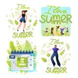 Heure réglée pour l'été, j'aime l'été, lettrage illustration libre de droits