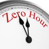 Heure zéro sur une horloge Image stock