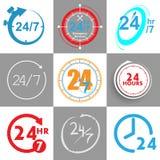 24 heures d'éléments de logo illustration stock