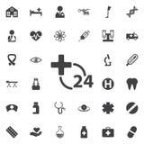 Heures d'icône de service médical sur le fond blanc Hôpital Photographie stock libre de droits