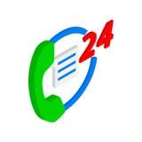 24 heures d'icône de soutien, style 3d isométrique Illustration Stock